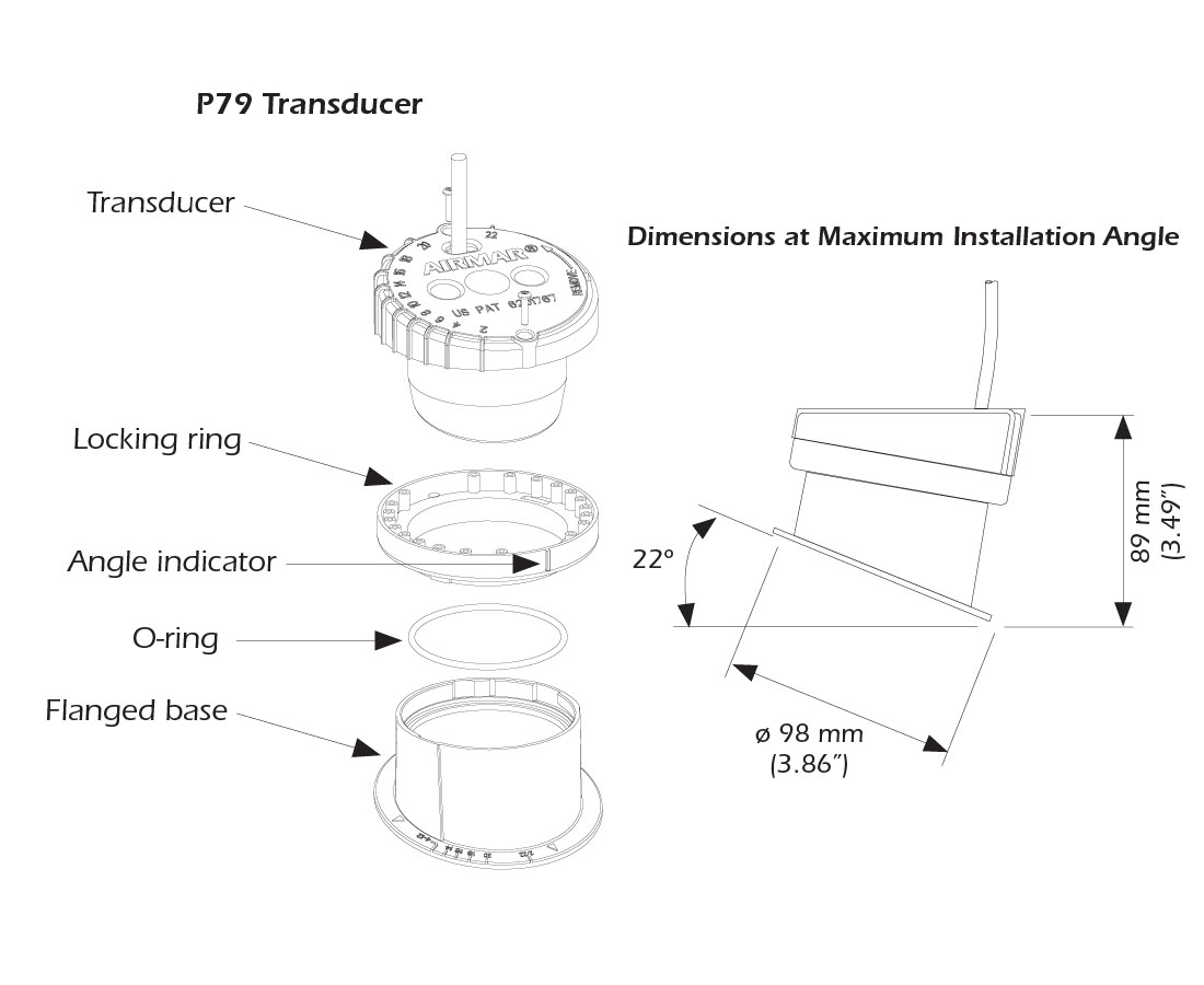 Transducers / Accessories: AIRMAR P79 600W INHULL XDCR 50/200KHZ on